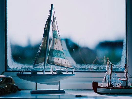 Sailboat on a windowsill (well, a toy one anyway)