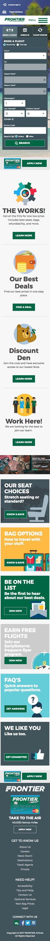 Website developed for Frontier Airlines at phone screen width