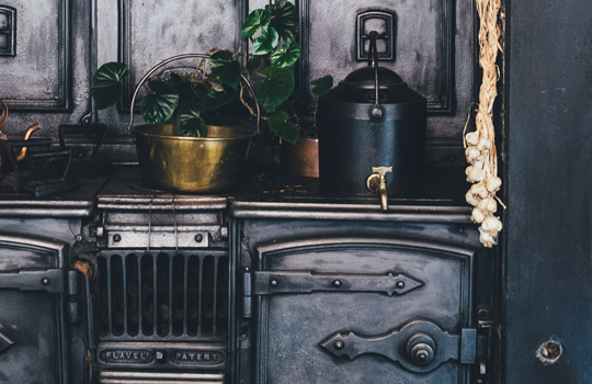 A cast-iron stove.