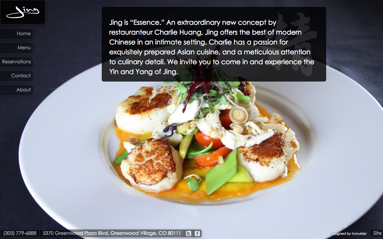 Screenshot of website designed for Jing restaurant