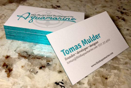 The resulting business cards