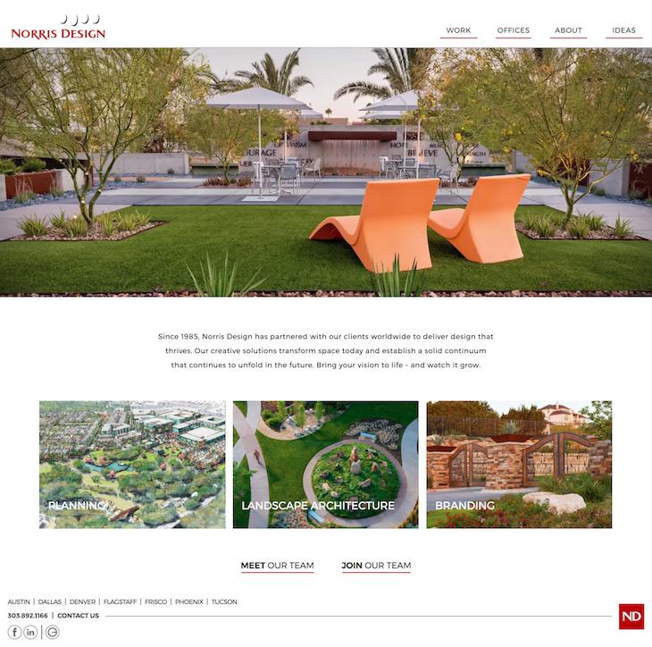 Screenshot of website development for Norris Design