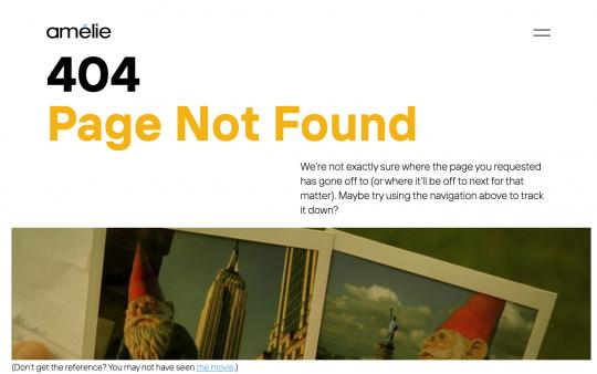 Amélie 404 page screenshot
