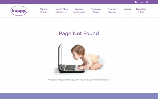 Boppy 404 page screenshot