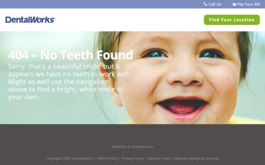 DentalWorks 404 page screenshot