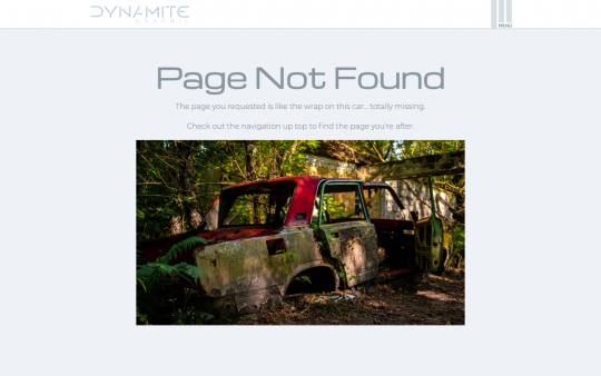 Dynamite Graphic 404 page screenshot