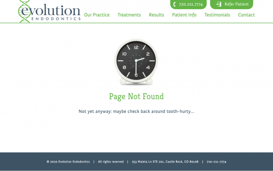 Evolution Endodontics 404 page screenshot