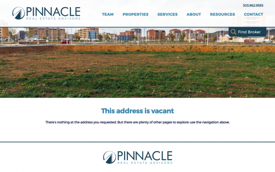 Pinnacle 404 page screenshot