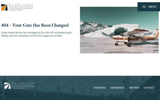 WJ Advisors 404 page screenshot