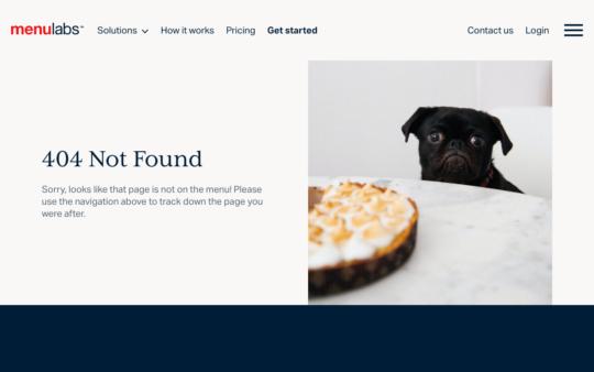 MenuLabs 404 page screenshot