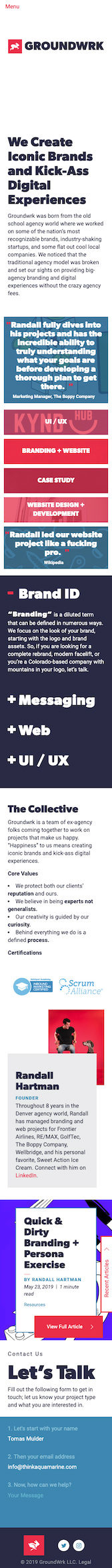 Screenshot of website developed for Groundwrk